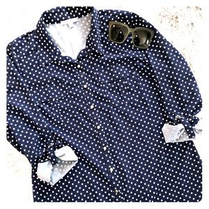 Polka Dot Button Up Blouse Like New